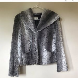 Grey ombré faux fur coat